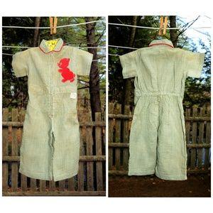 VTG Toddler Green Seersucker Jumpsuit 9-12 12-18M